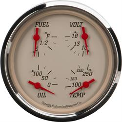 """5"""" 4-in-1 Gauge with Fuel, Oil, Temp and Volt, Beige"""
