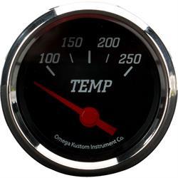 Omega Kustom 2 Inch Electric Water Temperature Gauge, Black