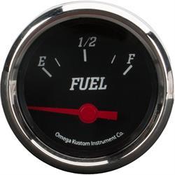 "2"" Fuel Level Gauge, Black, 0-90 Ohm"