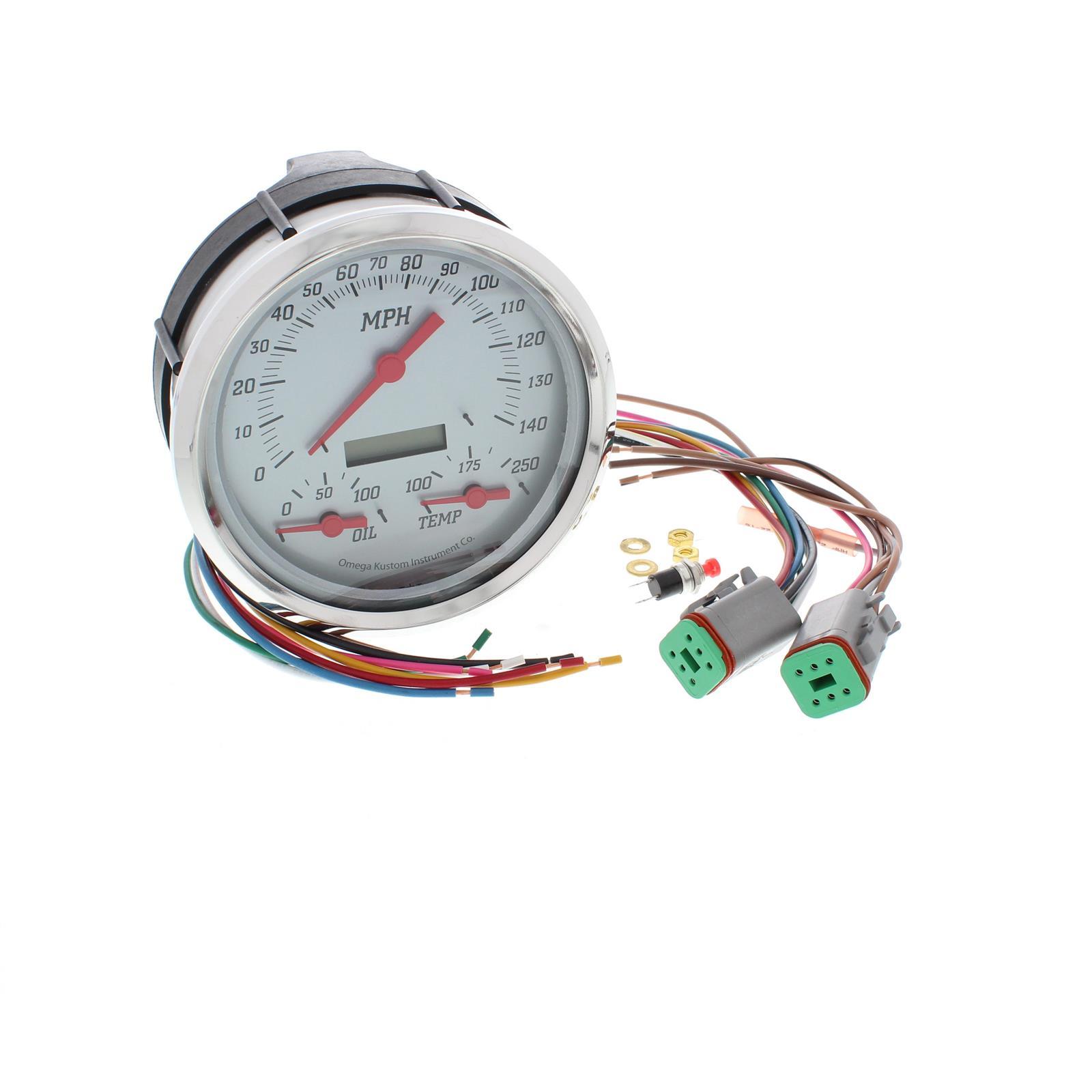 Omega Kustom 5 Speedometer W Oil Pressure Water Temp Silver Acb Wiring