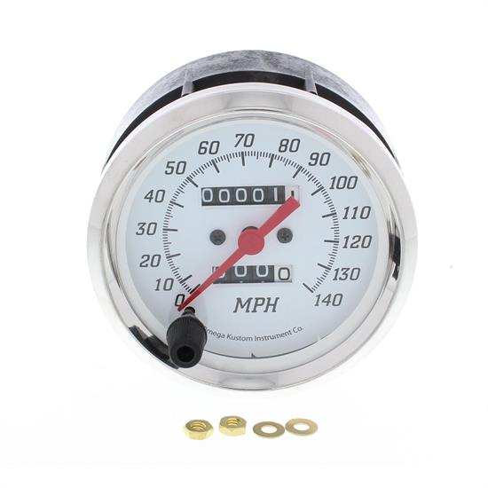 "Omega Kustom 4"", 140MPH Mechanical Speedometer, White"