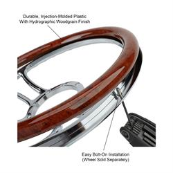 14 Inch Woodgrain Steering Wheel Half Wrap