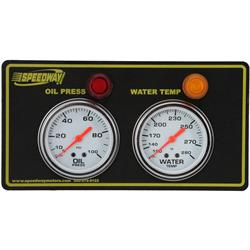 Speedway 2-Gauge Panel w/ Warning Lights, Oil Press/Water Temp
