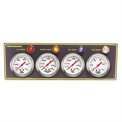 Speedway 4-Gauge Panel w/ Warning Light, Oil-Fuel Press/Water-Oil Temp