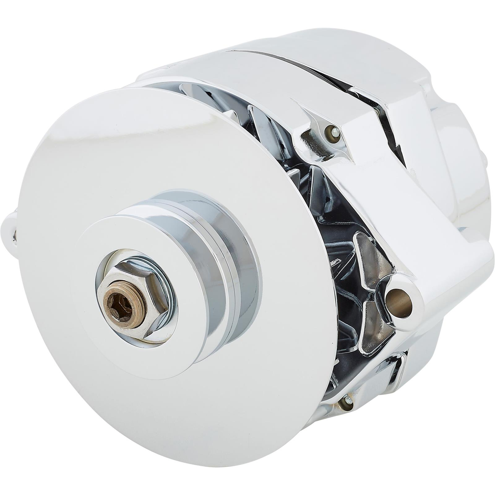 Tuff Stuff Alternator 7102NAP; 10DN 80 Amp Polished OE-Wire w// V-Belt Pulley