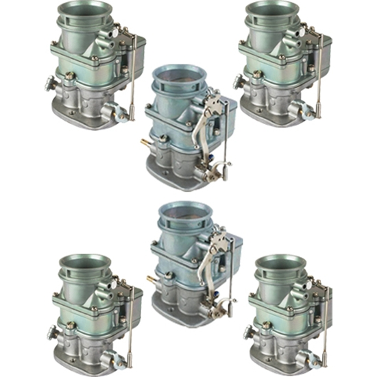 Set of 6 9 Super 7® 3-Bolt 2-Barrel Carburetors, Plain Finish