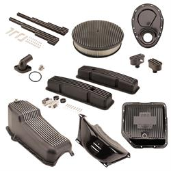 Speedway Motors SBC/TH350 Black Dress-Up Kit, Round A/C,Short V/C