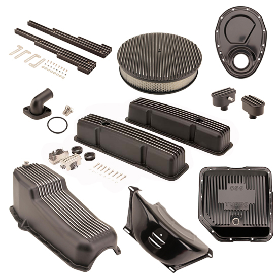 Speedway Motors SBC/TH350 Black Dress-Up Kit, Round A/C, Tall V/C