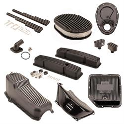 Speedway Motors SBC/TH350 Black Dress-Up Kit, Oval A/C, Short V/C