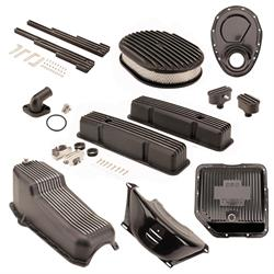 Speedway Motors SBC/TH350 Black Dress-Up Kit, Oval A/C, Tall V/C