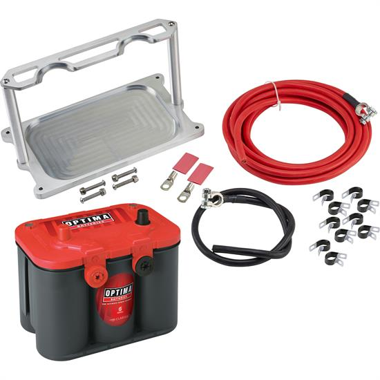 Speedway Motors Optima Battery Installation Kit, Mount/Cables