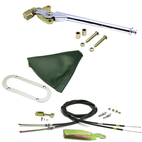 Lokar Trans Mount Emergency Hand Brake Kit, 16 Inch, Chrome