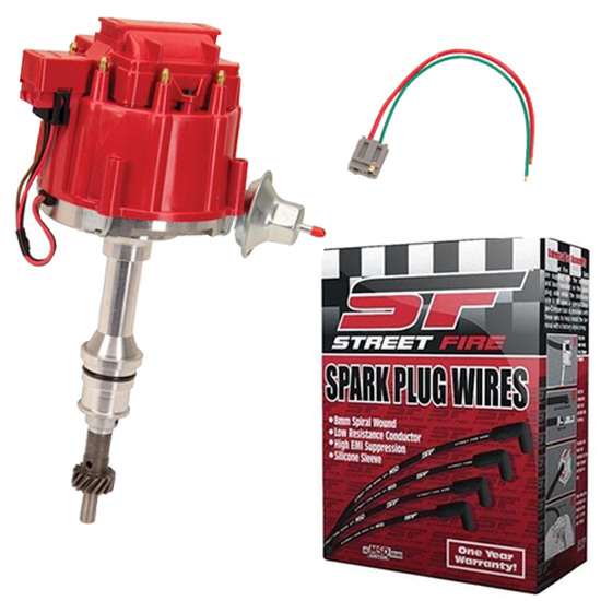 SBF HEI Distributor and Spark Plug Wiring Kit, Roller Camshaft