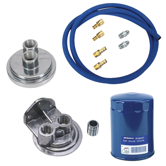 Small Block Chevy Remote Oil Filter Relocation Kit, Vertical Port