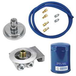 SBC Remote Oil Filter Relocation Kit, Horizontal Inlet/Outlet