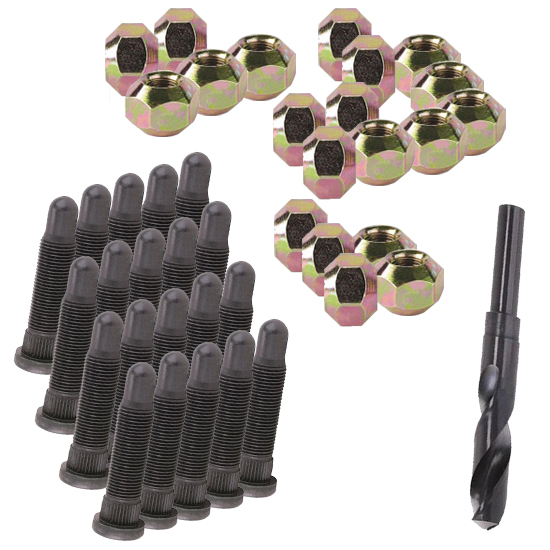 5/8 Inch Wheel Stud and Nuts Kit, Fine Thread