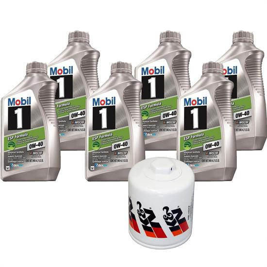 Mobil 1 0W40 6 Qt. Oil & K&N HP-1017 Filter Oil Change Kit