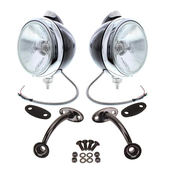 Guide 682-C Style 12-Volt Headlights w/ Mounting Brackets, Black