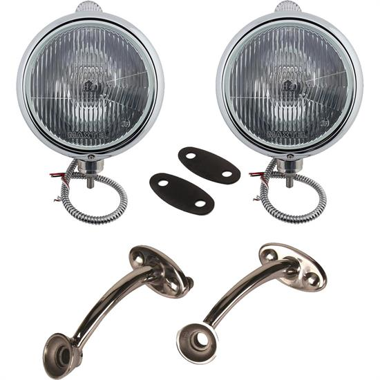 Guide 682-C Style 12-Volt Headlights w/ Mounting Brackets, Chrome