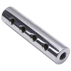 Round Polished Aluminum Fuel Block, 4-Hole