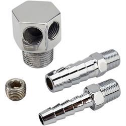"Chrome Aluminum 90 Degree Intake Manifold Vacuum Fitting 3//8/"" NPT to 1//4/"" Barb"