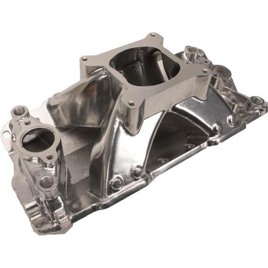 Speedway 1957-95 SBC Shootout High Rise Intake Manifold, Polished