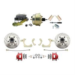 Speedway Deluxe 55-58 Chevy Disc Conv. Kit, D/S Rotors, Red