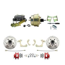 Speedway Deluxe 59-64 Chevy Disc Conv. Kit, D/S Rotors, Red