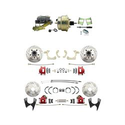Speedway 59-64 Impala Front & Rear Disc Brake Kit, D/S Rotors, Red