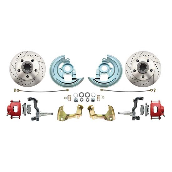 64-74 GM A/F/X Body 11 In Disc Brake Kit, Drill/Slot Rtr, Red Caliper