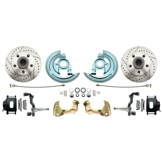 64-74 GM A/F/X Body 11 In Disc Brake Kit, Drill/Slot Rtr, Blk Caliper