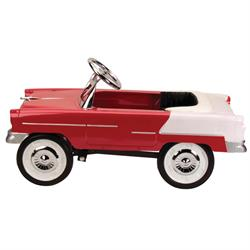 Retro Tri-Five 1955 Chevy Steel Metal Pedal Car, Red