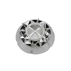 Murray® Pedal Car Parts, Starburst Hubcap, 3-3/8 In OD, Chrome Plastic