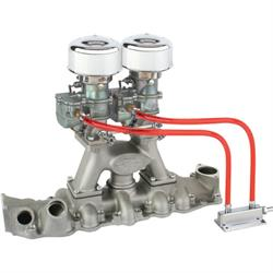 Chrome 9 Super 7® 2x2 Carb/Intake Manifold Kit, 1949-53 Flathead