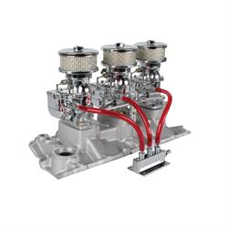 Chrome 9 Super 7® 3x2 Carb/Intake Manifold Kit, 1957-86 S/B Chevy