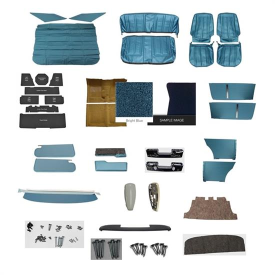 Complete Interior Kit for 1966 Chevy II with Bucket Seats, Bright Blue