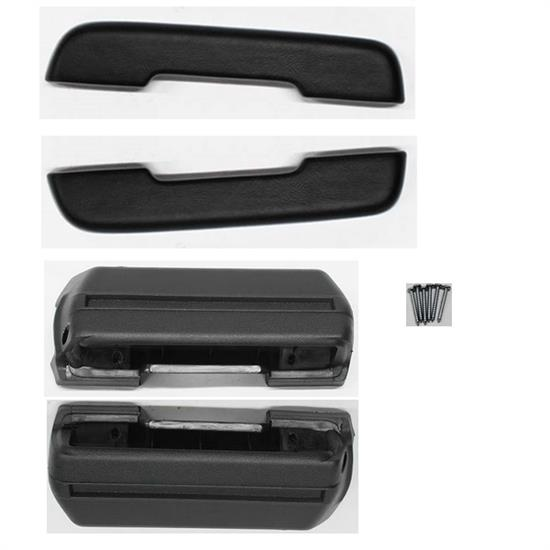 Reproduction Front Arm Rest Pads and Bases, 5-Piece Kit, Black
