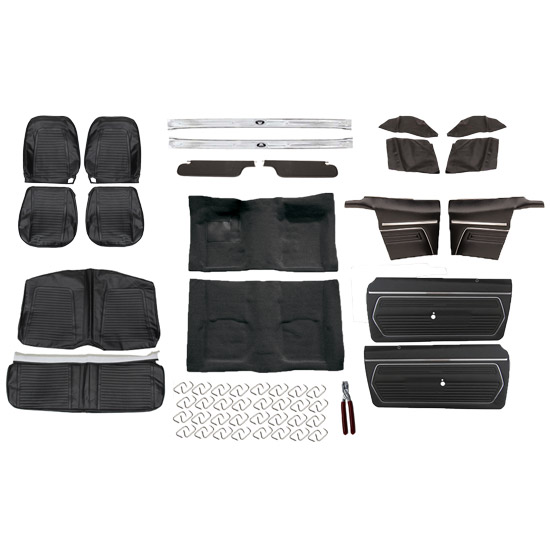Basic Black Interior Kit, 1969 Camaro Convertible, Bucket Seats