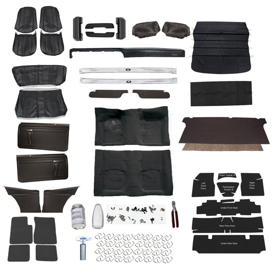 Complete Interior Kit for 1971 Nova without AC, Bucket Seats, Black