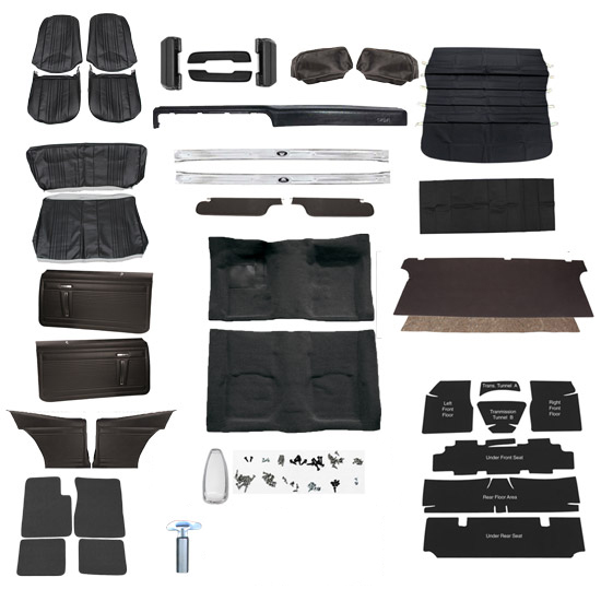 Complete Interior Kit For 1971 Nova Without Ac Bucket Seats Black