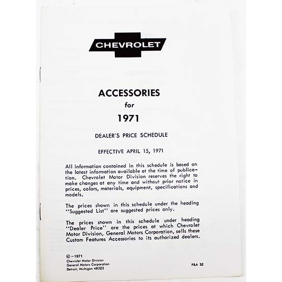 Dave Graham 71-AL 1971 Chevy Accessory Price List