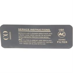 Jim Osborn DC0719 Air Cleaner Service Instructions Decal, 350/295