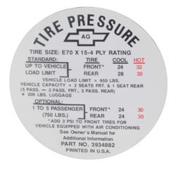 Jim Osborn DC0241 1968 Camaro Z28 Tire Pressure Decal