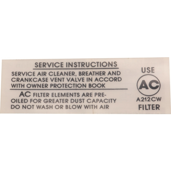 Jim Osborn DC0671 Air Cleaner Service Instructions 396/375, 67 Camaro