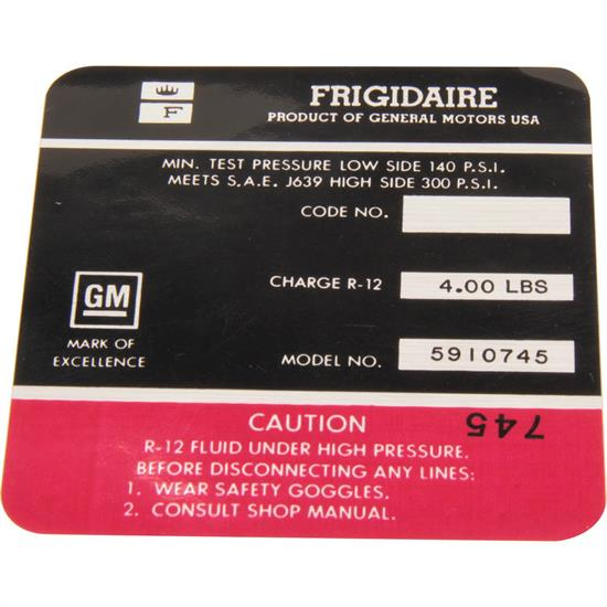 Jim Osborn DC0606 AC Compressor Frigidaire Red Label Decal, 69 Camaro