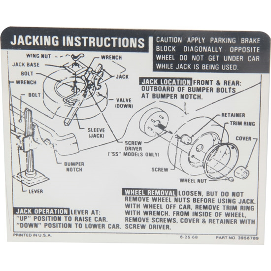 Jim Osborn DC0413 Jacking Instructions Decal for 1969-71 Nova SS