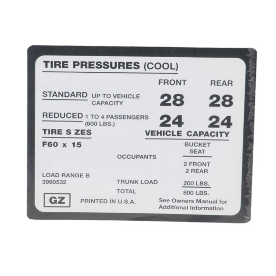 Jim Osborn DC0317 1971-73 Camaro Z28 Tire Pressure Decal
