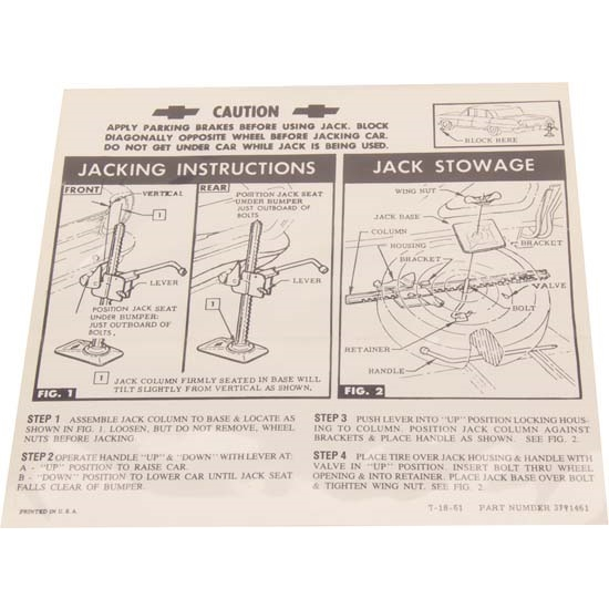 Jim Osborn DC0351 Jacking Instructions Decal for 1962-63 Chevy II