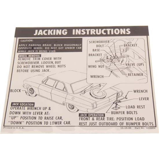 Jim Osborn DC0350 Jacking Instructions Decal, 1964-65 Chevy II