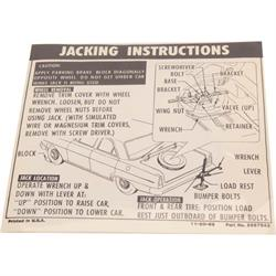 Jim Osborn DC0343 Jacking Instructions Decal for 1966 Chevy II